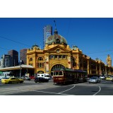 Flinders street station and city circle tram Melbourne